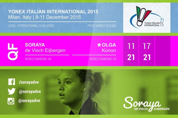 Italian International 2015 ends in quarter final for Soraya de Visch Eijbergen - Soraya de Visch Eijbergen
