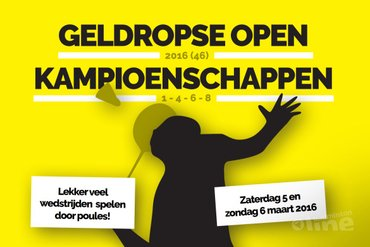 5 en 6 maart Geldropse Open 2016