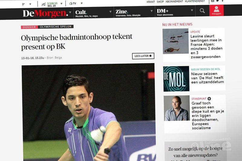 Olympische badmintonhoop tekent present op Belgisch Kampioenschap 2016 - De Morgen
