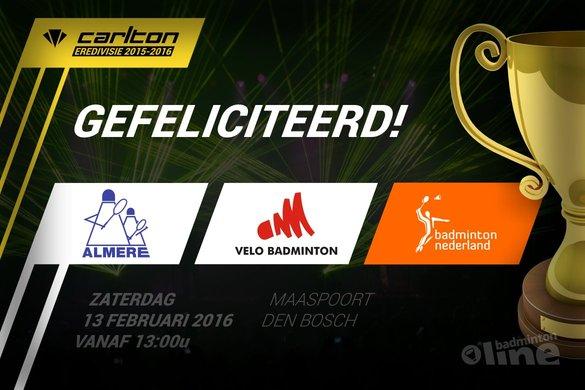 Finale Carlton Eredivisie 2015-2016 tussen VELO en Almere - badmintonline.nl