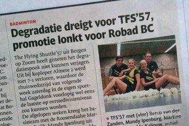 Degradatie dreigt voor TFS'57, promotie lonkt voor Robad BC