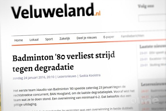 Badminton '80 verliest strijd tegen degradatie - Veluweland.nl
