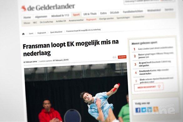 Nick Fransman loopt EK mogelijk mis na nederlaag - De Gelderlander