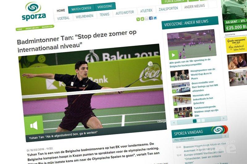 Belgische nummer één Yuhan Tan stopt na RIO2016 met internationaal topbadminton - Sporza
