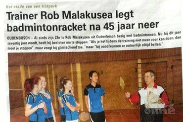 Trainer Rob Malakusea legt badmintonracket na 45 jaar neer