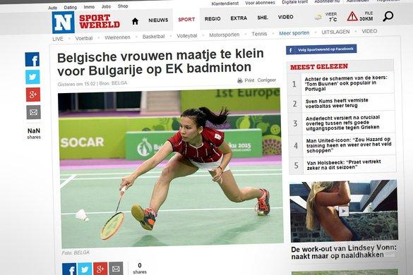 Belgische vrouwen maatje te klein voor Bulgarije op EK badminton - Het Nieuwsblad