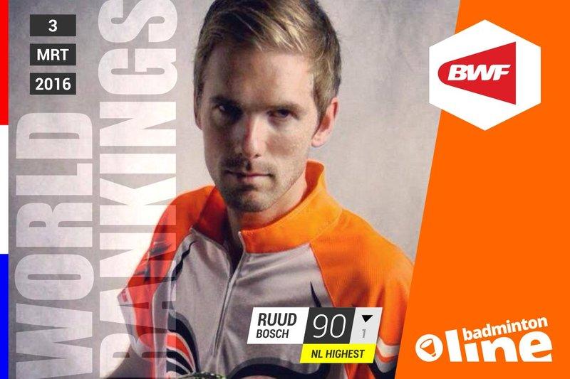 Wereldranglijst van donderdag 3 maart 2016: Ruud Bosch hoogst gerankte herendubbelspeler van Nederland - Ruud Bosch / badmintonline.nl