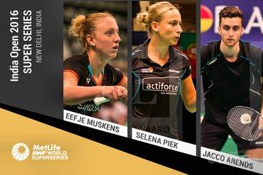 Jacco Arends, Eefje Muskens en dubbelpartner Selena Piek in actie bij India Open