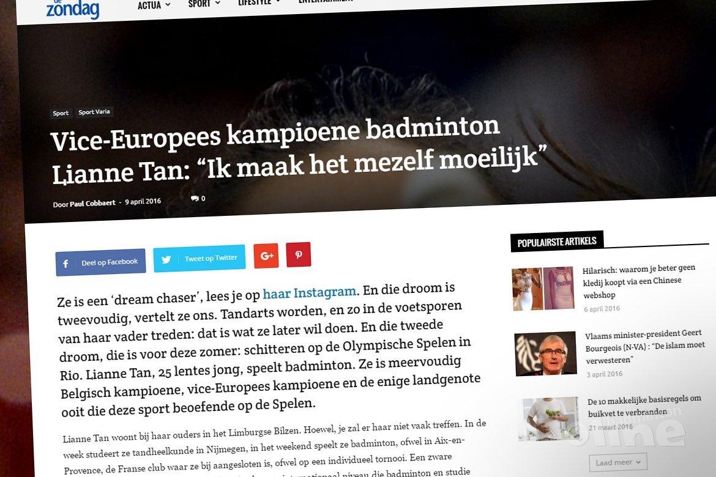 Vice-Europees kampioene badminton Lianne Tan: Ik maak het mezelf moeilijk
