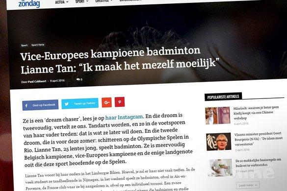 Vice-Europees kampioene badminton Lianne Tan: Ik maak het mezelf moeilijk - De Zondag