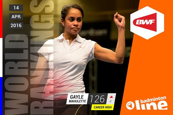 Wereldranglijst van donderdag 14 april 2016: Gayle Mahulette stijgt naar career high  - René Lagerwaard / badmintonline.nl