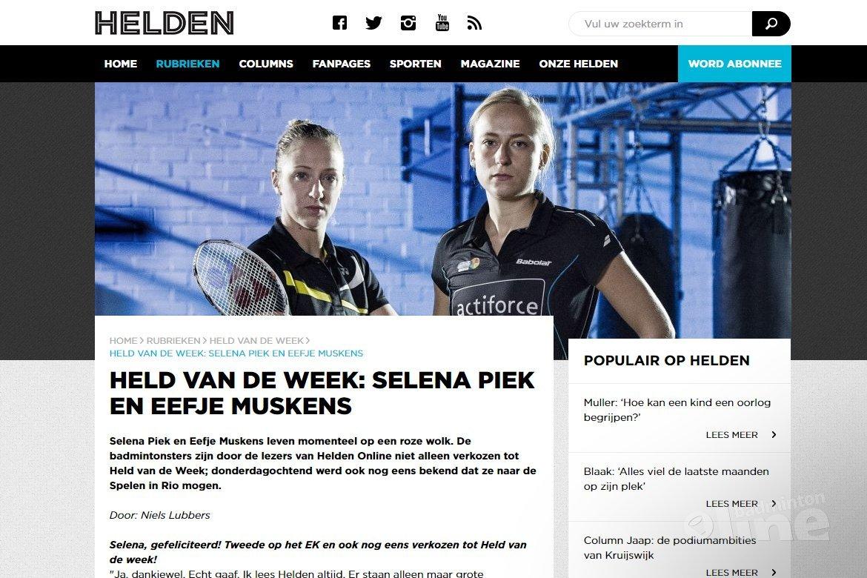 Held van de Week: badmintonners Eefje Muskens en Selena Piek