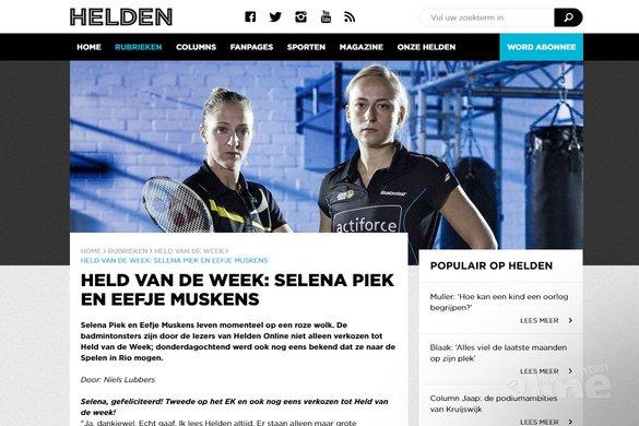 Held van de Week: badmintonners Eefje Muskens en Selena Piek - Helden Magazine