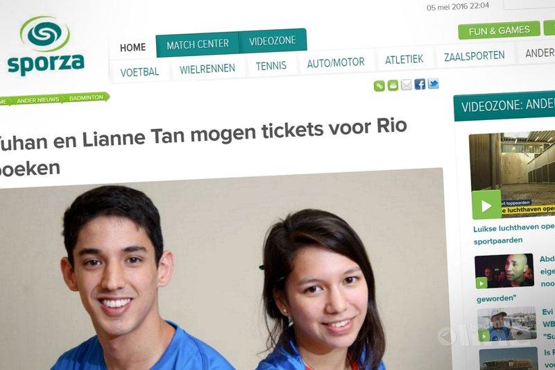 Yuhan en Lianne Tan mogen tickets voor Rio boeken - Sporza