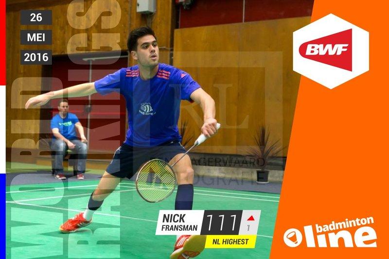 Wereldranglijst van donderdag 26 mei 2016: Nick Fransman beste singelaar - René Lagerwaard / badmintonline.nl