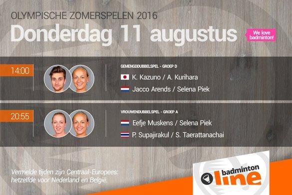 Rio 2016: voorbeschouwing eerste Olympische partijen Jacco Arends, Selena Piek en Eefje Muskens - badmintonline.nl