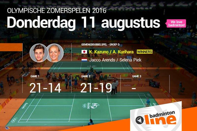 Japanners in Rio te sterk voor Nederlandse badmintonners Jacco Arends en Selena Piek - badmintonline.nl