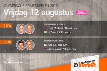 Rio 2016: voorbeschouwing tweede groepswedstrijd Jacco Arends, Selena Piek en Eefje Muskens