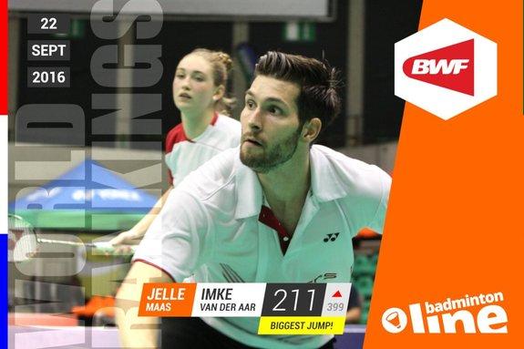 Wereldranglijst van donderdag 22 september 2016: Jelle Maas en Imke van der Aar in top 250 - Jos van den Einde / badmintonline.nl