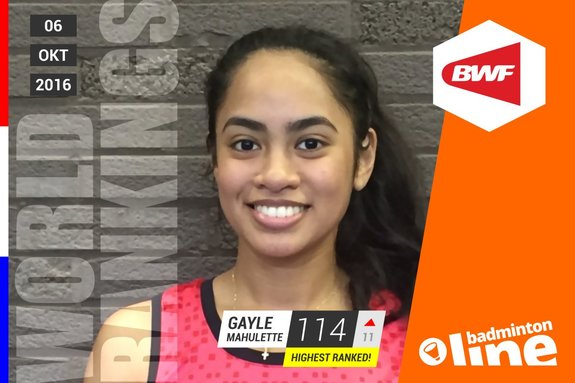 Wereldranglijst van donderdag 6 oktober 2016: Gayle Mahulette beste singelaar van de Nederlandse vrouwen - Badminton Nederland / badmintonline.nl