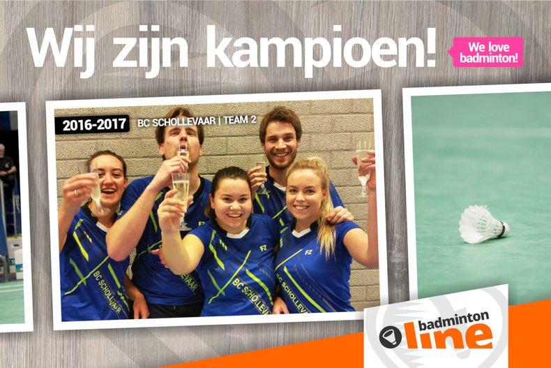 Deze afbeelding hoort bij 'Stuur jouw kampioensfoto naar badmintonline.nl!' en is gemaakt door BC Schollevaar
