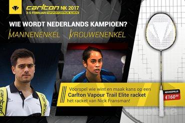 Voorspel wie Nederlands Kampioen wordt en win een Carlton badmintonracket t.w.v. 160 euro!