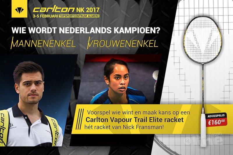 Voorspel wie Nederlands Kampioen wordt en win een Carlton badmintonracket t.w.v. 160 euro! - badmintonline.nl