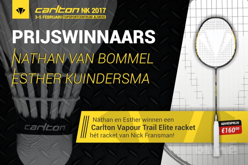 Nathan en Esther winnen Carlton Vapour Trail Elite badmintonracket met NK winactie badmintonline.nl - badmintonline.nl