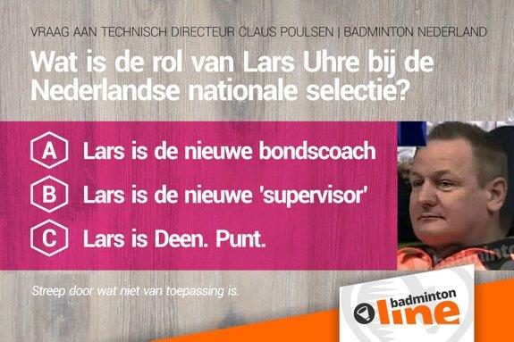 Deze afbeelding hoort bij 'Wat is de rol van Lars Uhre bij de Nederlandse nationale selectie?' en is gemaakt door badmintonline.nl