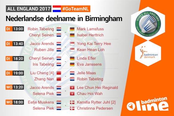 Olympische drietal Arends, Piek en Muskens terug in actie bij All England - badmintonline.nl