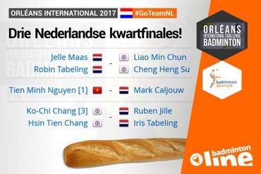Drie Nederlandse kwartfinales in Orléans