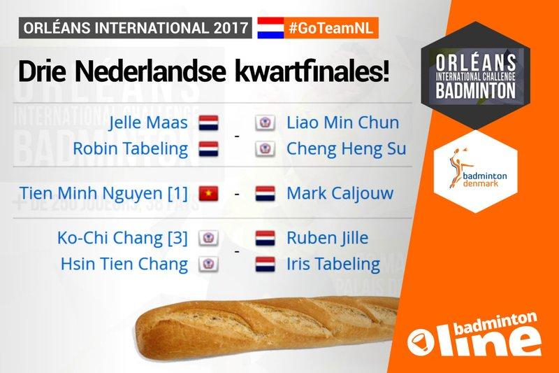 Drie Nederlandse kwartfinales in Orléans - badmintonline.nl