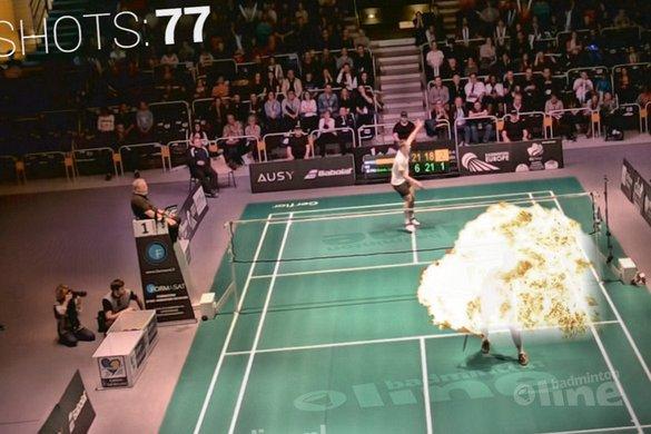 Nederlands Kampioen Mark Caljouw speelt rally van 77 slagen in finale Orléans International - badmintonline.nl
