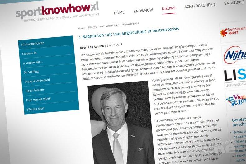 Deze afbeelding hoort bij 'Sport Knowhow XL: Badminton rolt van angstcultuur in bestuurscrisis' en is gemaakt door Sport Knowhow XL
