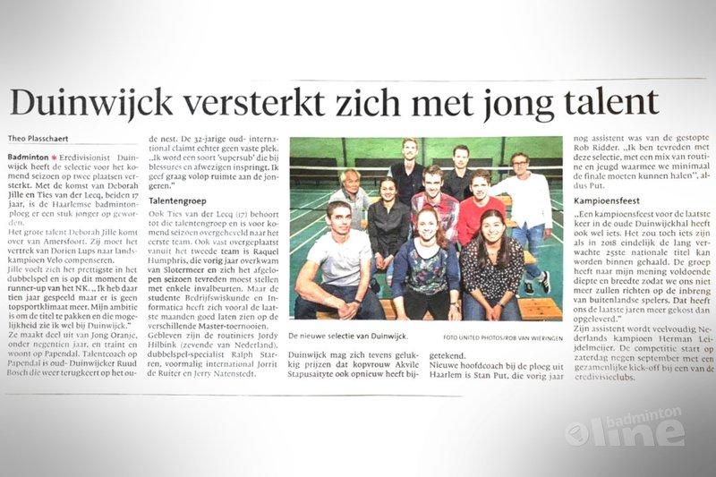 Carlton Eredivisie-club Duinwijck versterkt zich met jong talent - Haarlems Dagblad