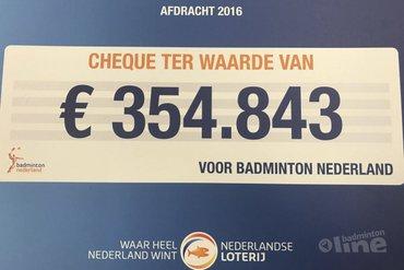 Nederlandse Loterij ondersteunt badmintonsport met 354.843 euro