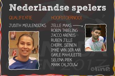Judith Meulendijks met Nederlandse topbadmintonners bij Canada Open