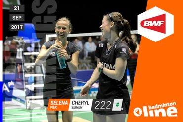 Wereldranglijst van donderdag 21 september 2017: Seinen en Piek starten nieuwe ranking op nummer 222