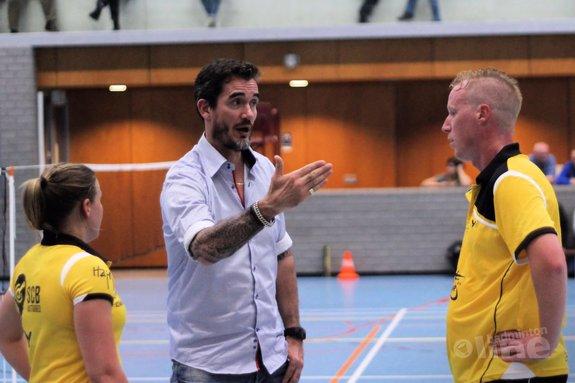 Deze afbeelding hoort bij 'Almere versterkt koppositie Nederlandse Badminton Eredivisie na 6-2 winst op DKC ' en is gemaakt door Geert Berghuis