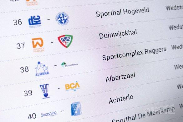 Nederlandse Badminton Eredivisie wedstrijden van zaterdag 28 oktober 2017 - badmintonline.nl