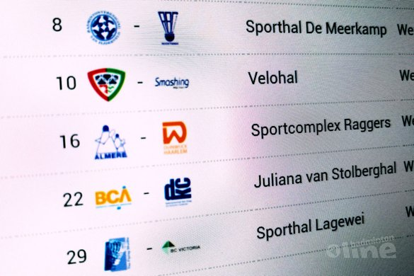 Nederlandse Badminton Eredivisie wedstrijden van zaterdag 4 november 2017 - badmintonline.nl