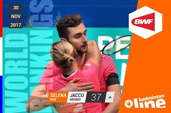 Deze afbeelding hoort bij 'Wereldranglijst van donderdag 30 november 2017: Jacco Arends en Selena Piek back on top' en is gemaakt door badmintonline.nl