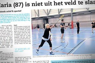 Badmintonspeelster Maria (87 jaar) is niet uit het veld te slaan