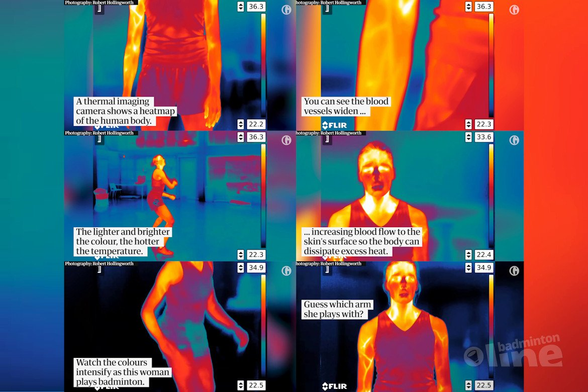 Detailed thermal imaging reveals heat map of a badminton player