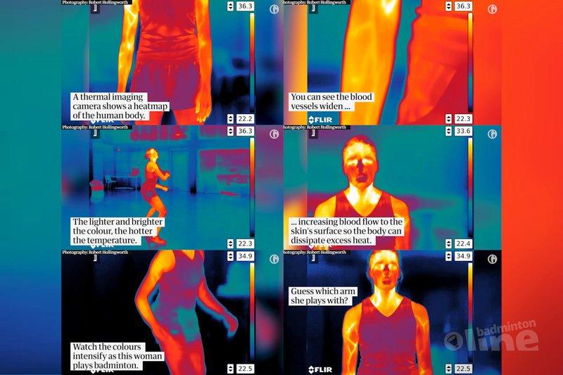 Detailed thermal imaging reveals heat map of a badminton player - Gaurdian News / badmintonline.nl