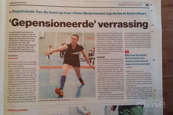 Ongetrainde Yao Jie leest op haar 40ste Nederlandse top de les in Amersfoort - AD Amersfoort
