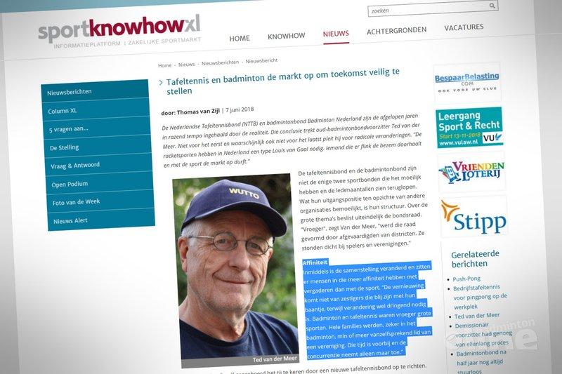 Tafeltennis en badminton de markt op om toekomst veilig te stellen - Sport Knowhow XL