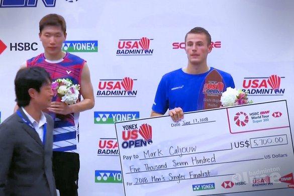Tweede plaats Mark Caljouw bij US Open 2018 - BWF / badmintonline.nl