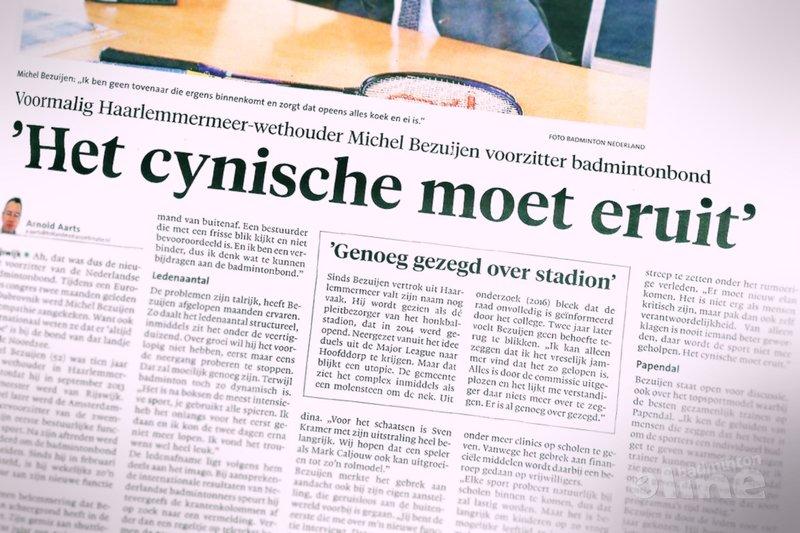 Michel Bezuijen voorzitter badmintonbond: 'Het cynische moet eruit' - Haarlems Dagblad / badmintonline.nl