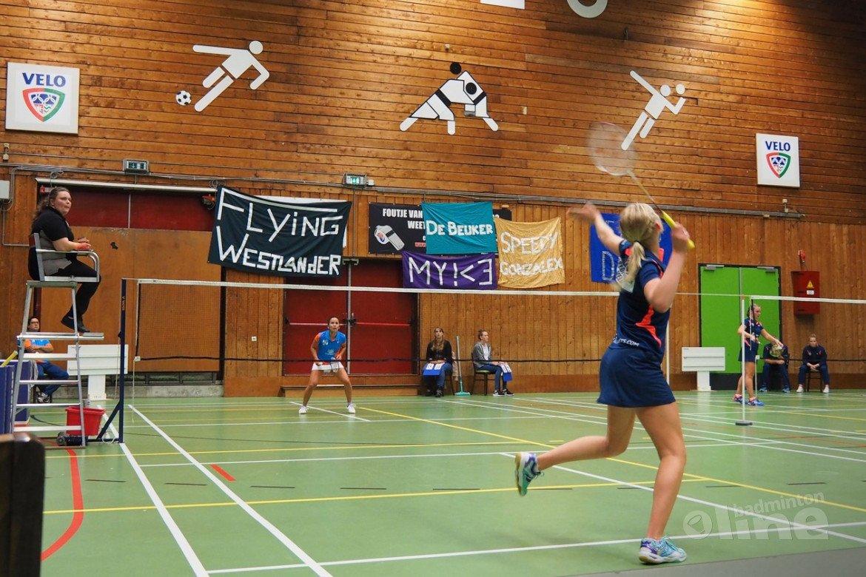 Nederlandse Badminton Eredivisie gelijkspel tussen VELO en Hoornse